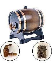 Oak Aging Whiskey Barrel 1.5L-10L Wine Keg Dispenser for Wine Whiskey Brandy Wood Pail Storage (3L, Brown)