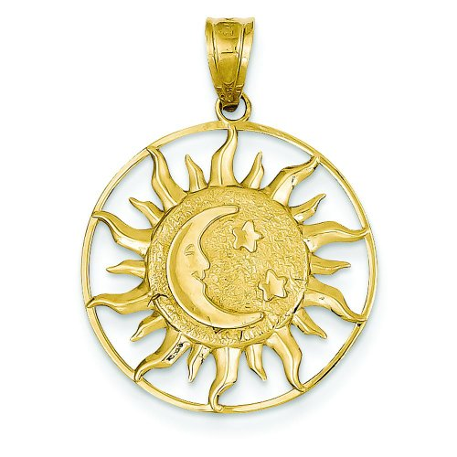 14K Yellow Gold Polished Sun Moon & Star Charm Pendant (Sun Charm 14k Yellow Gold)