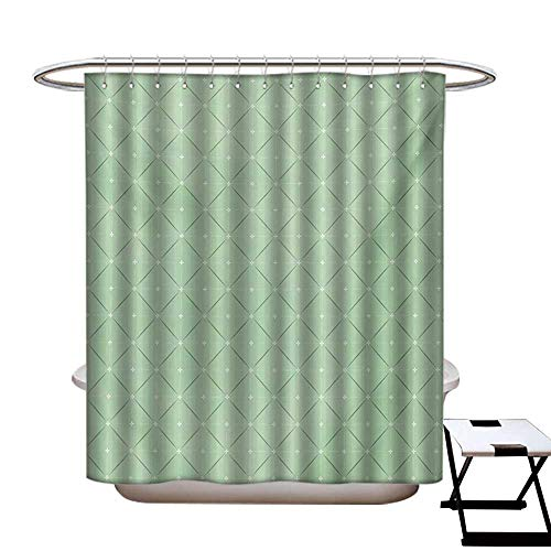 (BlountDecor Abstract Shower Curtains with Shower Hooks Rhombus and Squares Pattern with Stripes and Flowers Geometric Arrangement Fabric Bathroom Set with Hooks W54 x L78 Pale Green White)