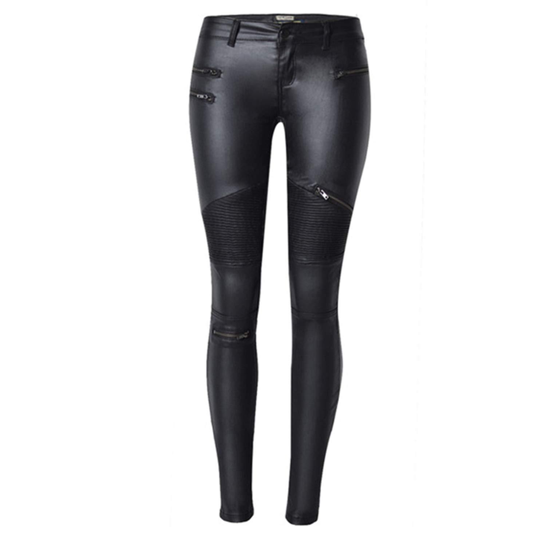 2b0d58a5c2e 2019 Girls Faux Leather Pants Women Zipper Trousers Women Elastic Low Waist  Pleated Hip hop Punk Rock Streetwear Plus Size at Amazon Women s Clothing  store