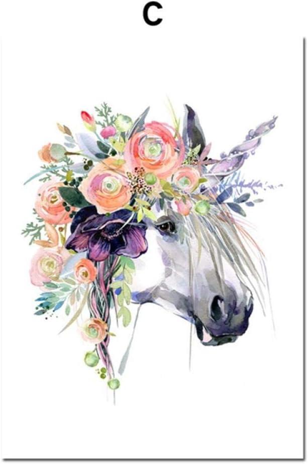 jjshily Nordic Poster Und Drucke Cartoon Aquarell Pferd Blume Kunst Leinwand Malerei Tiere Wandbild F/ür Wohnzimmer Schlafzimmer Dekor Kein Rahmen