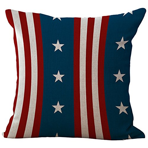 ChezMax Linen Chair Back Cushion Cover Cotton Throw Pillow Case Square Pillowslip Decorative Pillowcase for Bed Dinning Room Stars and Vertical Stripes 18 X - Star All Pillowcase