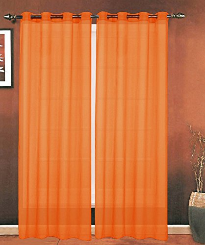 Elegance Linen Luxury 2-Piece Grommet SHEER PANEL/CURTAIN - Window Curtains 55-inch width X 84-inch Length - Neon Orange
