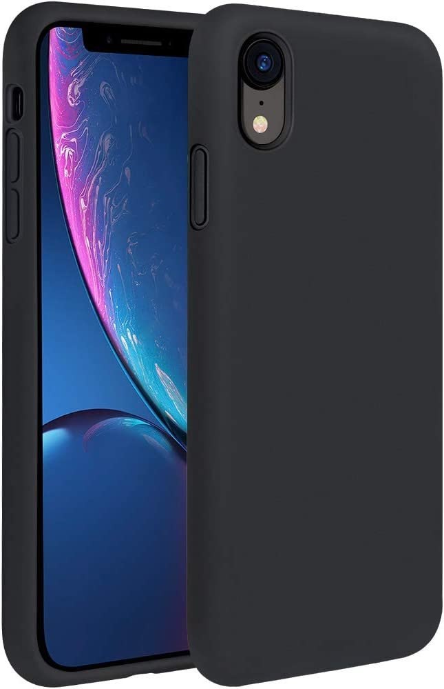 Miracase Liquid Silicone Case Compatible with iPhone XR 6.1 inch (2018), Gel Rubber Full Body Protection Shockproof Cover Case Drop Protection Case (Black)