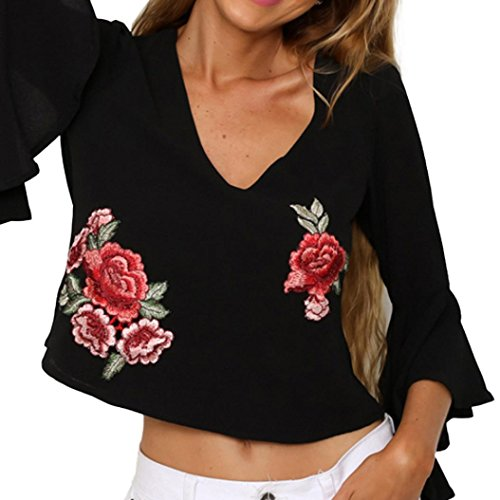 Fossen Fossen Mujer Blusas Corto de Manga Volantes Trompeta Camisetas Rose Embroidery Camisa de Mujer Elegantes de Fiesta: Amazon.es: Ropa y accesorios