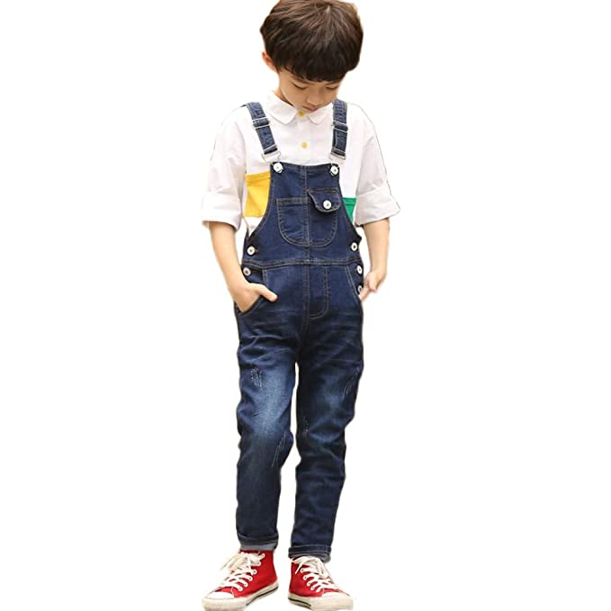 FLOWERKIDS Boys Washed Denim Bib Overalls Adjustable Straps Suspender Jeans 4-13 Years (Blue, Age 4-5 Years) best boys' overalls
