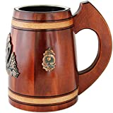 Medieval German style Huge Beer Stein 17 oz. Renaissance Oktoberfest Big Wooden Mug for Men. Old Times Tall Coffee Drinking Cup. Authentic Giant Wood Tankard with Handle. Fathers Day, Birthday Gift For Sale
