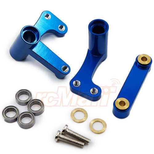 GPM Aluminum Steering Assembly With Bearing Set Blue For Traxxas 1/10 Slash Rustler #RUS048-B - Gpm Steering Assembly