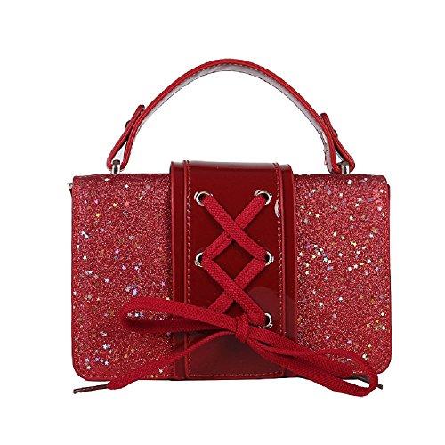 Cuir Paquet en Femme Diagonale Paillettes Main Sac Rouge Nouveau tressé à Sac ZHRUI épaule Dentelle Verni apzqFOf