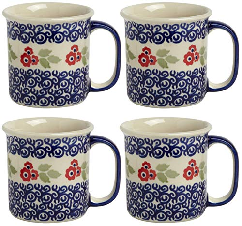 """Red Cup Cherry Jumbo - Set of 4 Polish Pottery Floral Jumbo Can-Shaped Coffee Mugs, 5.25""""L x 4""""W x 3.75""""H with 14-oz. Capacity, Set of 4 (Red Cherry Blossoms)"""