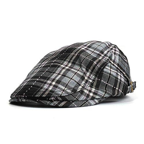 Soultopxin Men Adjustable newsboy Cap Male Cotton Warm Flat Hat Classical Grid by Soultopxin