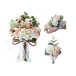Florashop Wedding Bouquet+Corsage+Boutonniere Package 9.4 inch Satin Roses Silk Peony Bridal Holding Flower Bouquet with Wrist Corsage Band and Men's Groom Bridegroom Boutonniere 108
