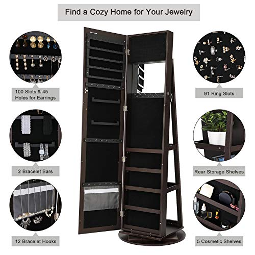 SONGMICS Jewelry Cabinet Armoire 360° Rotatable Higher Mirror, Lockable Jewelry Organizer Mother's Day Gift UJJC62BR by SONGMICS (Image #2)