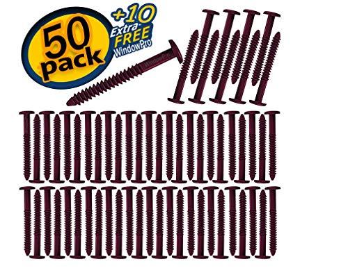(Window Shutters Panel Peg Lok Pin Screws Spikes 3 inch 60 Pack (Burgundy) Exterior Vinyl Shutter Hardware Strongest Made in USA)