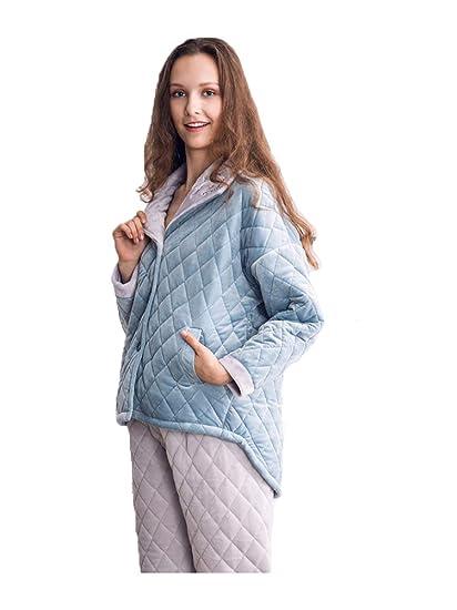 GYH Winter Pyjamas Women Three Layer Thickening Warm Quilted Jacket Women  Pajama Sets Plus Size Pijamas 04927b627