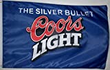 Nuge Coors Light Silver Bullet Blue Beer Flag 3' X 5' Beverage Banner