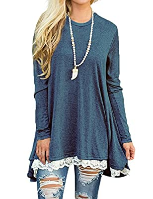 Halife Women Lace Splicing Long Sleeve Tunic Top Blouse