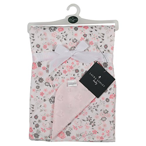 (Laura Ashley Floral Print Blanket, Emboss Hearts Backing, Pink)