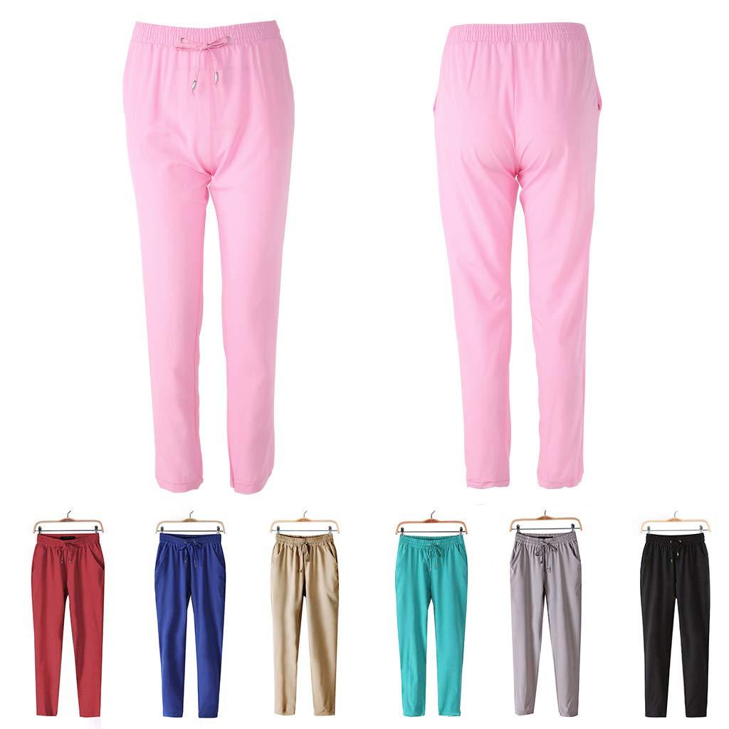 LDA Get Fresh Las Mujeres Frescas Pantalones de Cintura el/ásticos Ocasionales Color Brillante Verano Primavera-Negro peque/ño Moda Mujeres Ocio Pantalones con Tiras