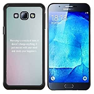YiPhone /// Prima de resorte delgada de la cubierta del caso de Shell Armor - Borrosa Niebla Niebla blanco limpio Mensaje Poema - Samsung Galaxy A8 A8000