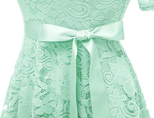 Menta Casual Manica Pizzo Donna Cerimonia Vestito Dresstells Corta Vintage Vestiti 6pOqAzqI