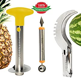 Pura Vida Stainless Steel Fruit Slicer Set - Pineapple Cutter and Corer, Watermelon Slicer Cutter, Melon Baller Scoop, Apple Corer Tool, Strawberry Huller Stem Remover - Creative Kitchen Slicing Kit 35 Watermelon Slicer: 2 in 1 utensil combining the functionality of a knife with the handiness of tongs to easily serve slices of watermelon. Pineapple Slicer/Corer: Use it like a cork screw and cut the flesh out effortlessly, while leaving the core in the shell. Melon Baller: Scrape melon into absolutely perfect, tiny round balls and use the sharp carving end to carve creative, intricate designs in fruit or vegetables.