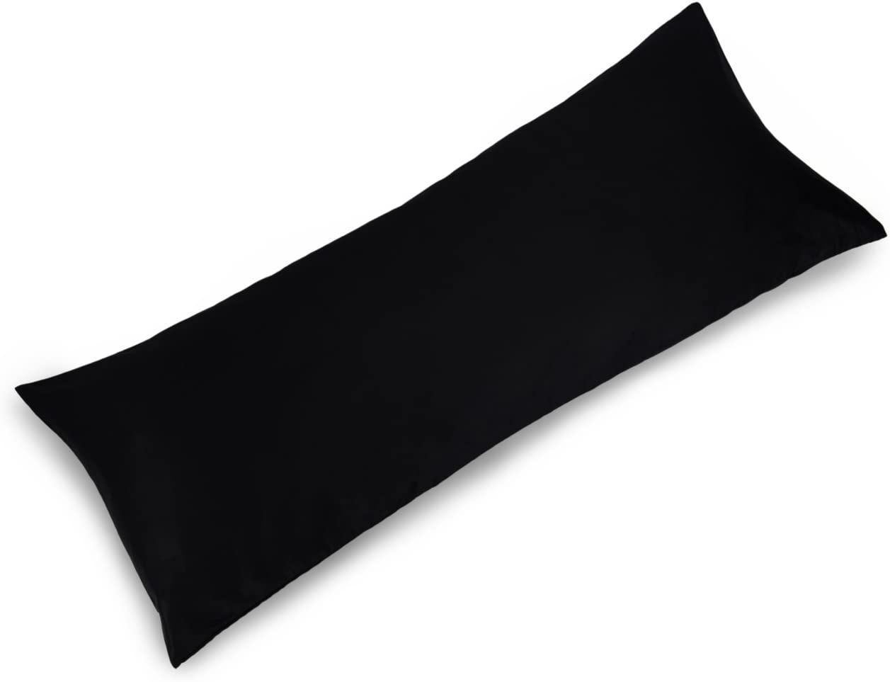 YAROO 21x48 Body Pillow Cover,Body Pillow Case Non-Zippered Enclosure,400 Thread Count,100% Cotton,Solid,Black.