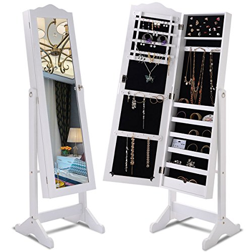 Giantex Lockable Mirrored Jewelry Cabinet Armoire Mirror Organizer Storage Box w/ Stand (White) (Make Own Your Furniture Mirrored)