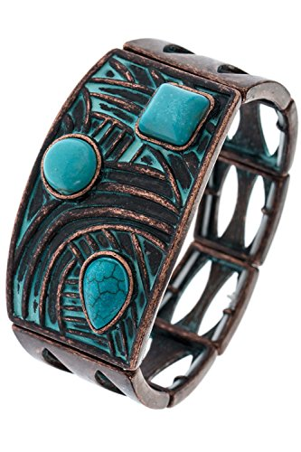 BAUBLES & CO FAUX STONE ACCENT GEOMETRIC CUTOUT BRACELET (Turquoise Stone Stretch Band Watch)