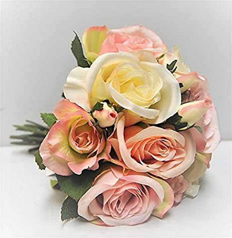 Fsl Rose Flower Bouquet Artificial Cream And Pink Rose Silk Arrangement Flower Posy Amazon Co Uk Kitchen Home