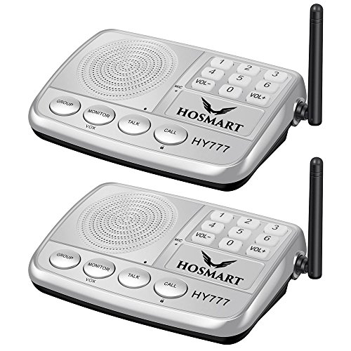 Wireless Intercom System Hosmart 1/2 Mile Long Range 7-Channel Security Wireless Intercom System for Home or Office (2019 New Version) 2 Station Silver ()