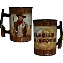 "John Wayne 16oz Mug with Rifle Handle - ""A Man's Gotta Do..."""
