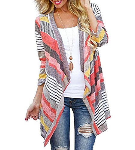 (Myobe Women's Fashion Geometric Print Drape Boho Open Front Cable Knit Sweater Cardigans (L(New), Red) )