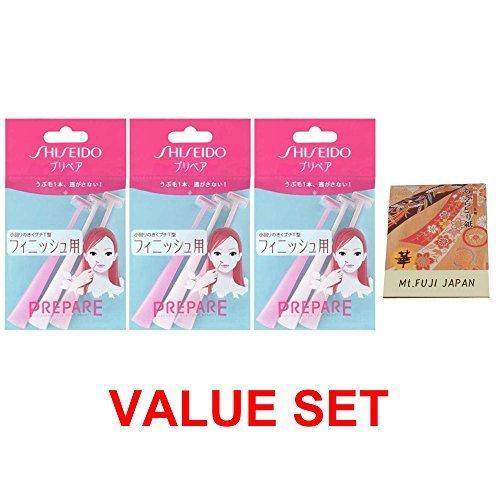 Shiseido For finishing (Mini head) Razor 3pcs x 2 Pack (total 6 pcs) with Premium Oil Blotting Paper Value Set