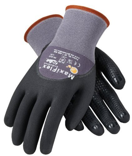 ATG 34-845/L Maxiflex Endurance Nylon, Micro-Foam Nitrile 3/4 Grip Gloves, Large, Black/Gray, 12 Pairper Pack by ATG