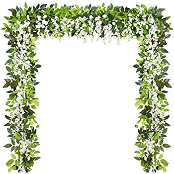 Sunm boutique Artificial Flowers Wisteria Garland Vine Rattan Hanging for Home Garden Ceremony Wedding Arch Floral Decor, 6.6 Feet, 4pcs, White