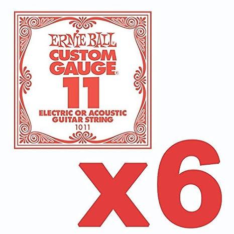 6 Pack Ernie Ball personalizados calibre 11 de cuerdas de guitarra eléctrica/acústica: Amazon.es: Instrumentos musicales