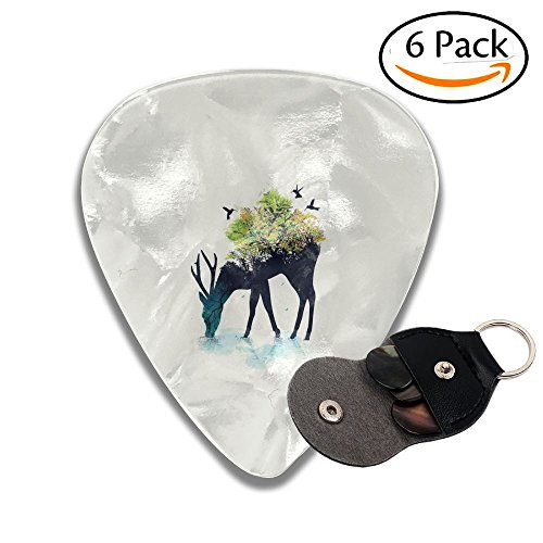 C-Emily Deer Nature 351 Shape Classic Guitar Picks (6 Pack) For Electric Guitar, Acoustic Guitar, Mandolin, And Bass (Thin, Medium, Heavy) 351 Classic Rock