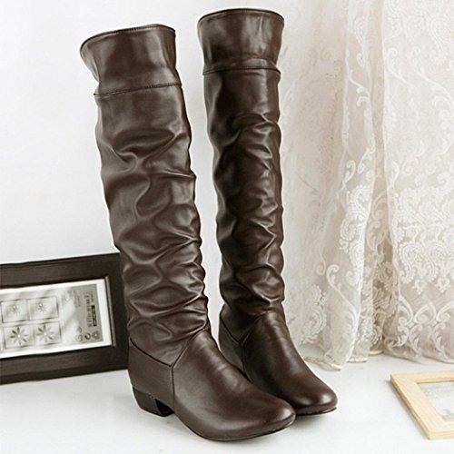 BYSTE al Stivali Piatto Scarpe da Stivali Inverno Heeled Tubo Solido Marrone Donna Tacchi Equitazione Alto Ginocchio IFwxr1wqY