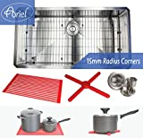 Premium 36 Inch Stainless Steel Super Sized Kitchen Sink Package By Ariel - 16 Gauge Undermount Single Bowl Basin - Complete Sink Pack + Bonus Kitchen Accessories - Ideal For Home Kitchen Renovation