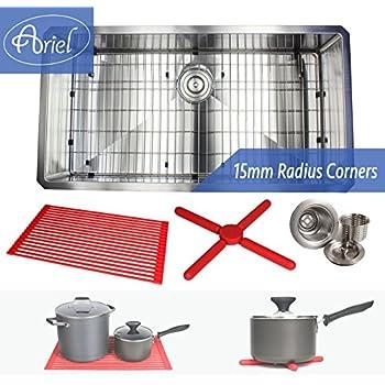 Premium 36 Inch Stainless Steel Super Sized Kitchen Sink Package By Ariel    16 Gauge Undermount