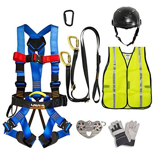 Fusion Climb Pro Backyard Zip Line Kit Harness Lanyard Trolley Carabiner Helmet Vest Glove Bundle FK-A-HLTCHVG-19