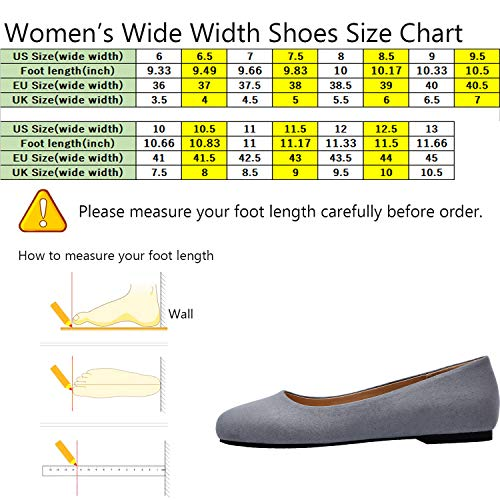 a573dfce25c6f Women's Wide Width Flat Shoes - Comfortable Classic Pointy Toe Slip On  Ballet Flat(Grey 180818,12.5)