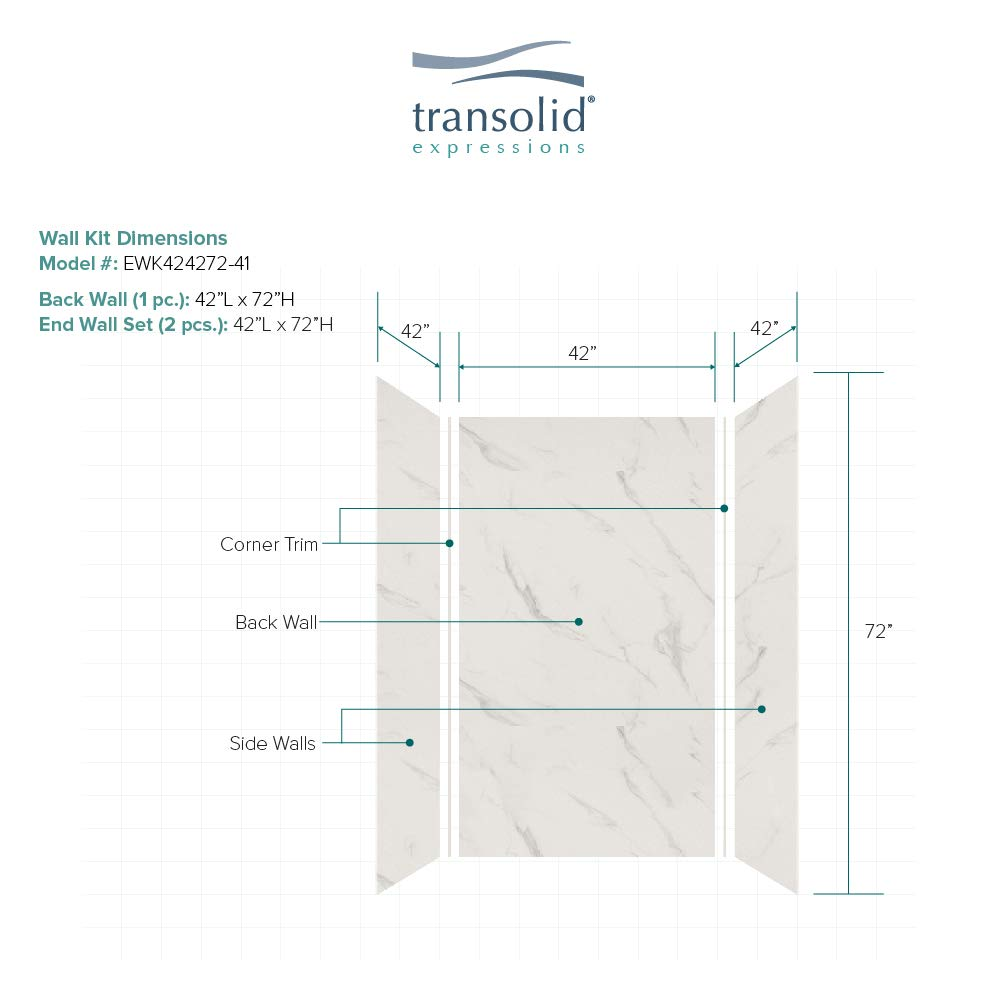 Transolid EWK483672-46 Expressions 3-Panel Shower Wall Kit 36-in L x 48-in W x 72-in H Cameo