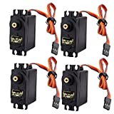 J-DEAL® 4x Pcs MG995 Standard Mini Micro Servo Gear Digital Torque High Speed for RC Futaba HPI Savage XL Helicopter Plane Boat Car Model (Metal Gear(4pcs))
