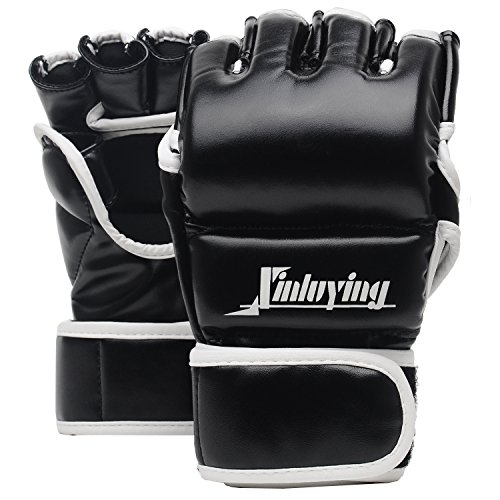 Xinluying MMA Gloves Martial Arts Grappling Sparring Punch Bag UFC Boxing Training Half Mitts 10oz for Men Women Large