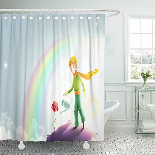 TOMPOP Shower Curtain Little Prince Watering Rose Le Petit C