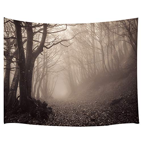 Gothic Tapestry Wall Hanging, Scary Haunted Forest with Fog, Wall Tapestry for Bedroom Living Room Dorm Decor 71X60Inches, Brown