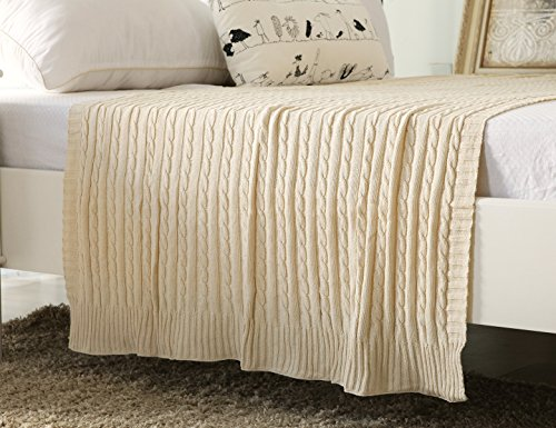 Super Tippet (iSunShine Cotton Knitted Cable Throw Soft Warm Cover Blanket Cable Knitting Pattern, 43 by 70 Inches, Beige)