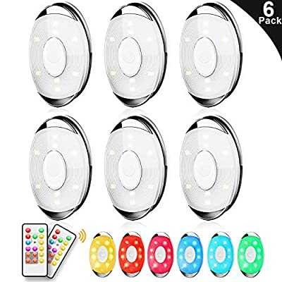 LED Puck Light, Lightess Wireless Closet Light 6 Pack with Remote Control, RGB Dimmable LED Under Cabinet Lighting Battery Powered Under Counter Lighting Stick on Lights, BY5612